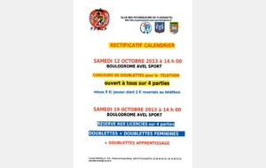 RECTIFICATIF CALENDRIER